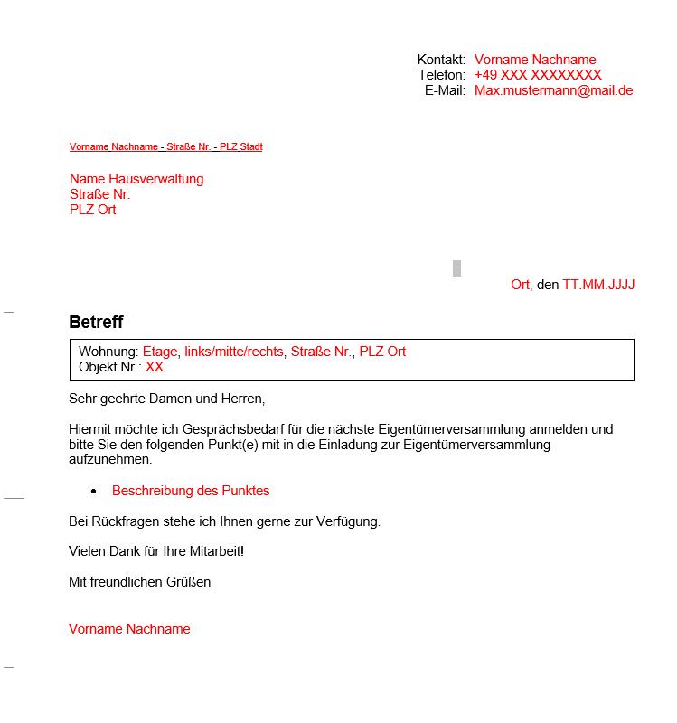 Vermieter Vorlagen Brief Eigentümerversammlung