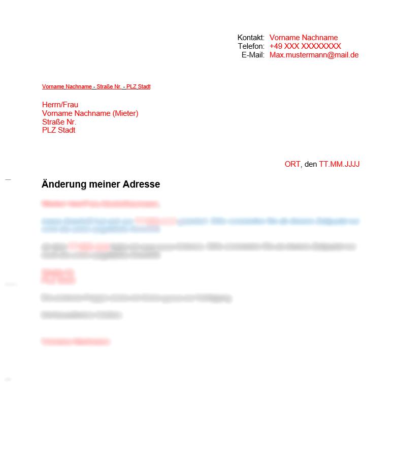 Vermieter Vorlage Änderung der Adresse