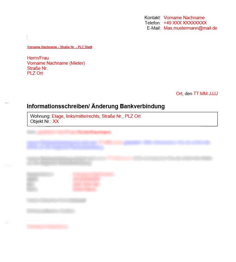 Vermieter Vorlage Änderung Bankverbindung