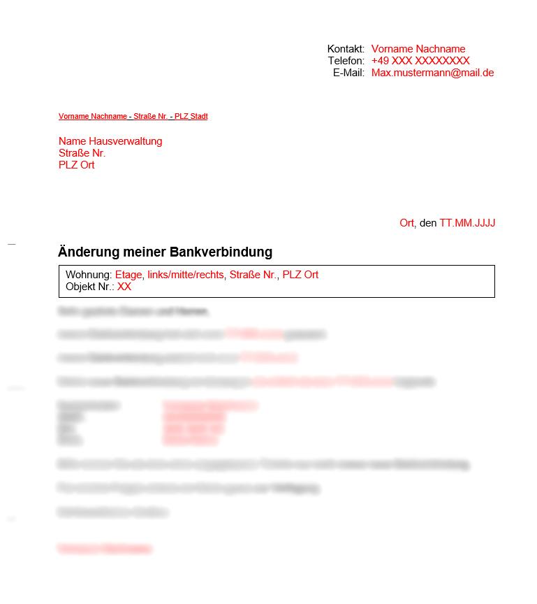 Vermieter Vorlagen Mitteilung Änderung der Bankverbindung