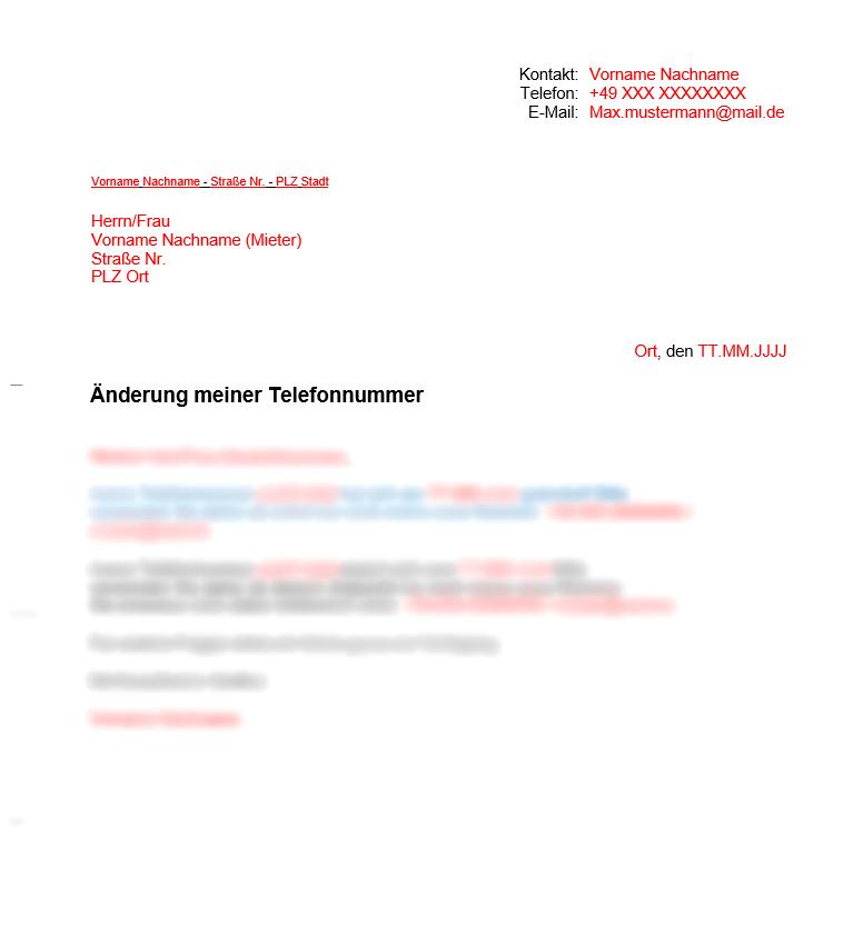 Vermieter Vorlagen Änderung der telefonnummer