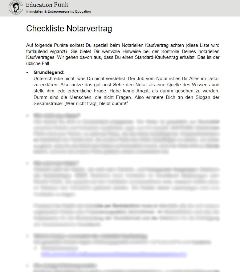 Vermieter Vorlage Checkliste Notarvertrag