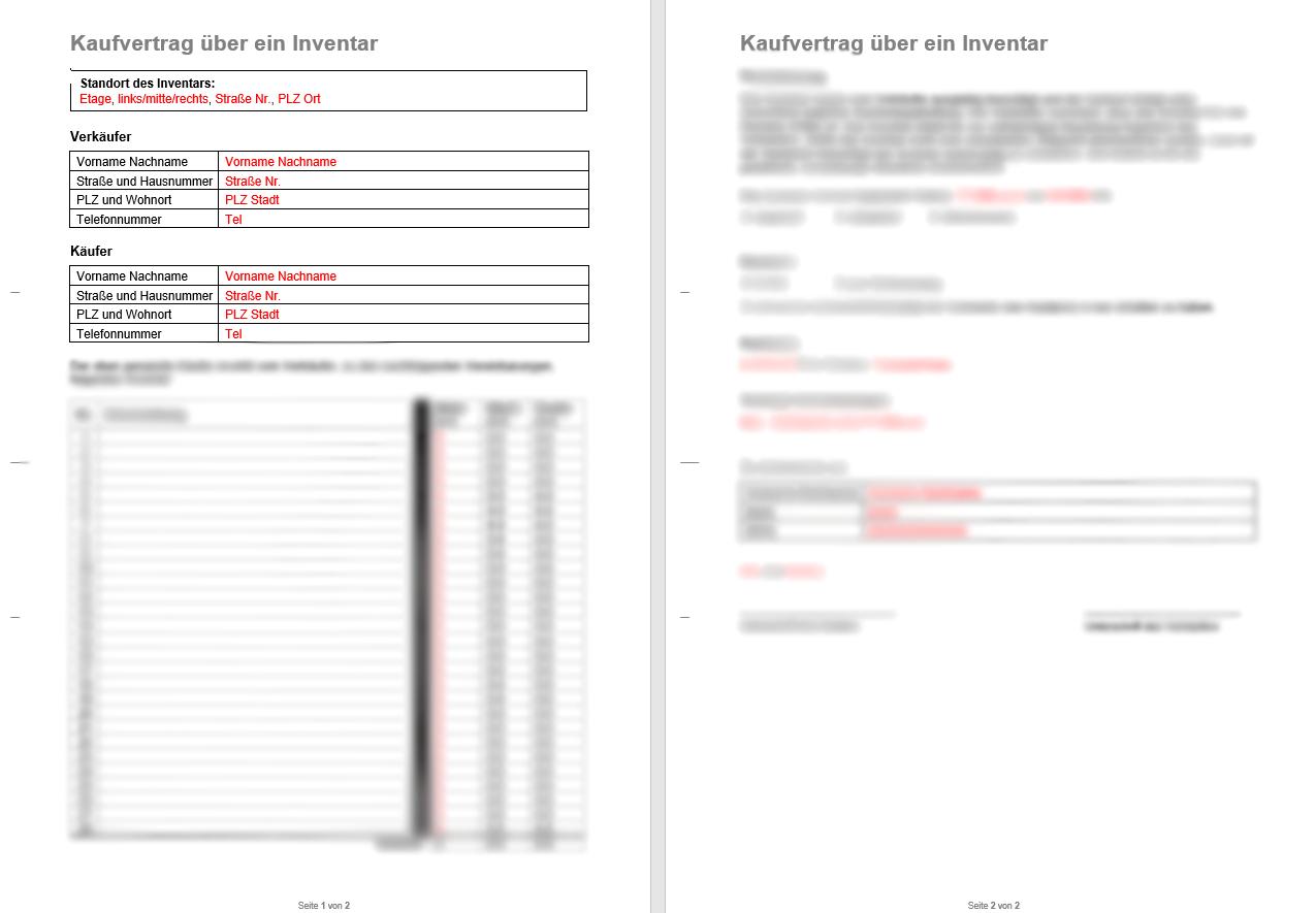 Beispiel Vermieter Vorlagen Kaufvertrag für Inventar