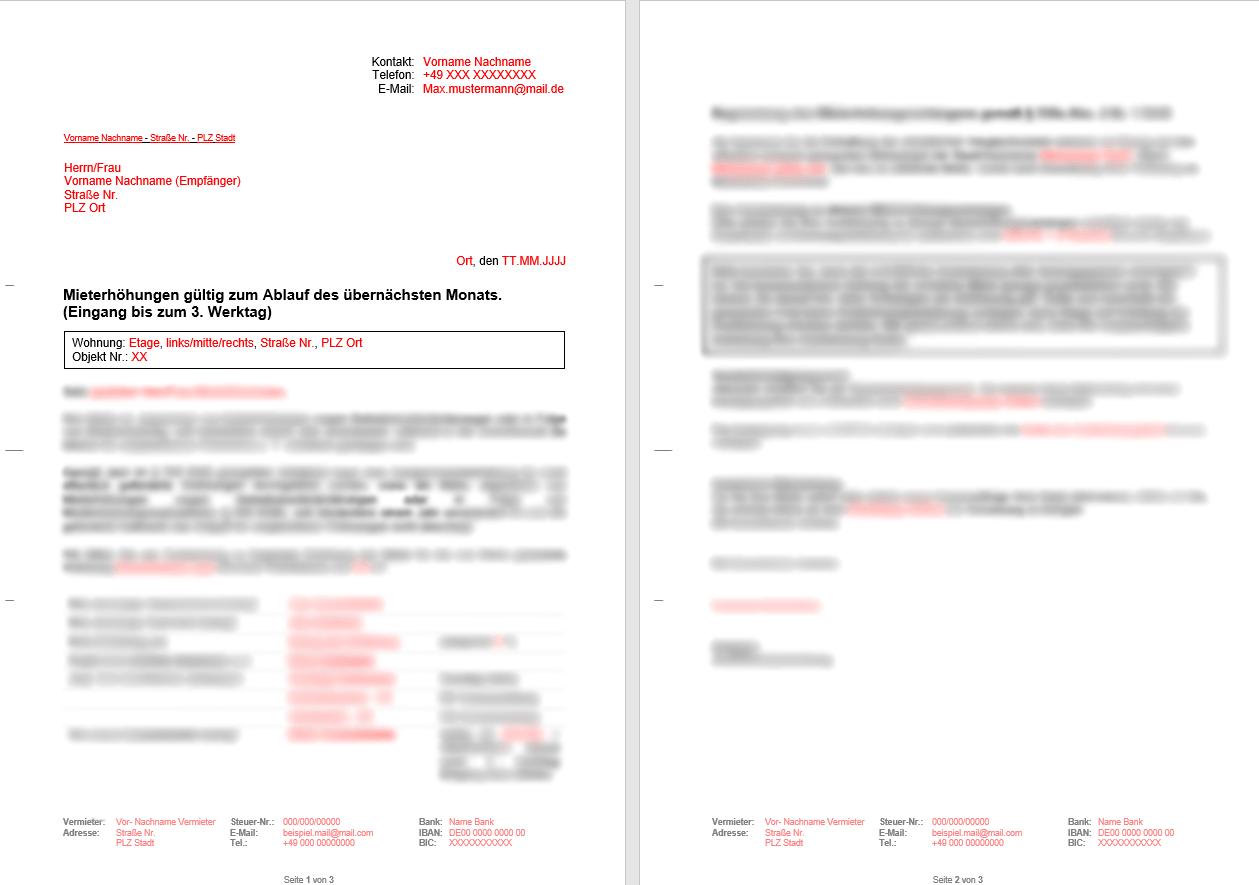 Vorlage Dokument Mieterhhung Vergleichsmieten