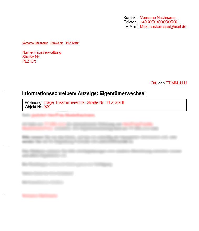 Vermieter Vorlagen für Hausverwaltung: Eigentümerwechsel
