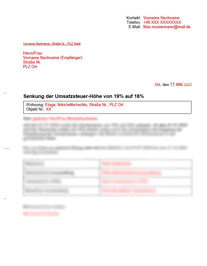 Vermieter Vorlage Umsatzsteuersenkung