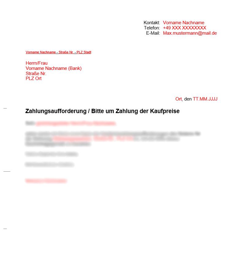 Vermieter Dokumente Zahlungsaufforderung