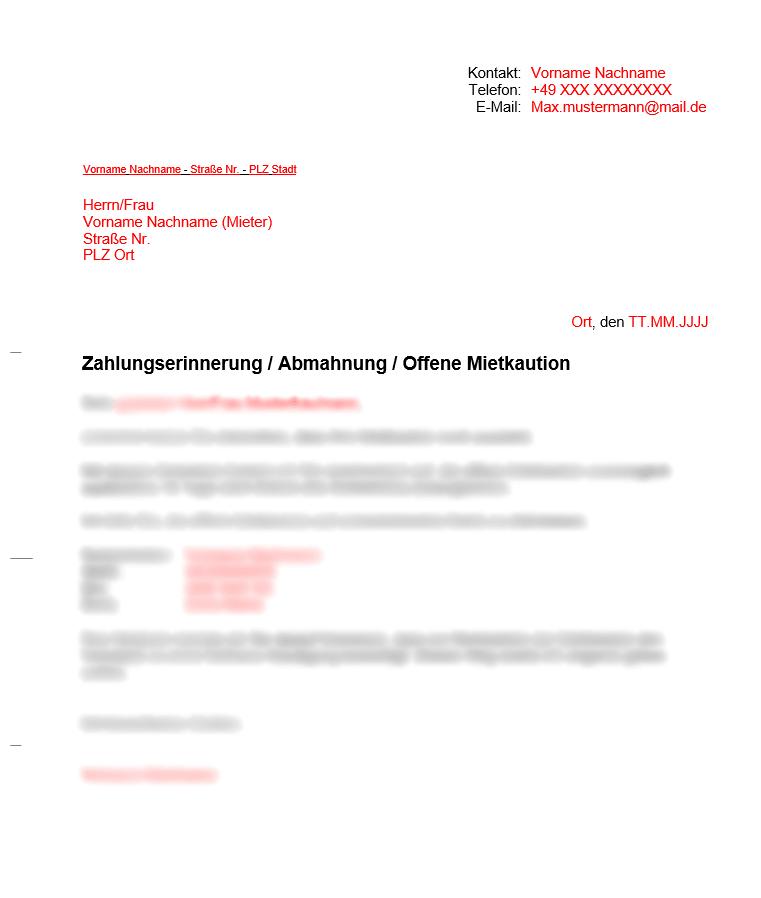 Vermieter Vorlage Kündigung wegen Zahlungsverzug