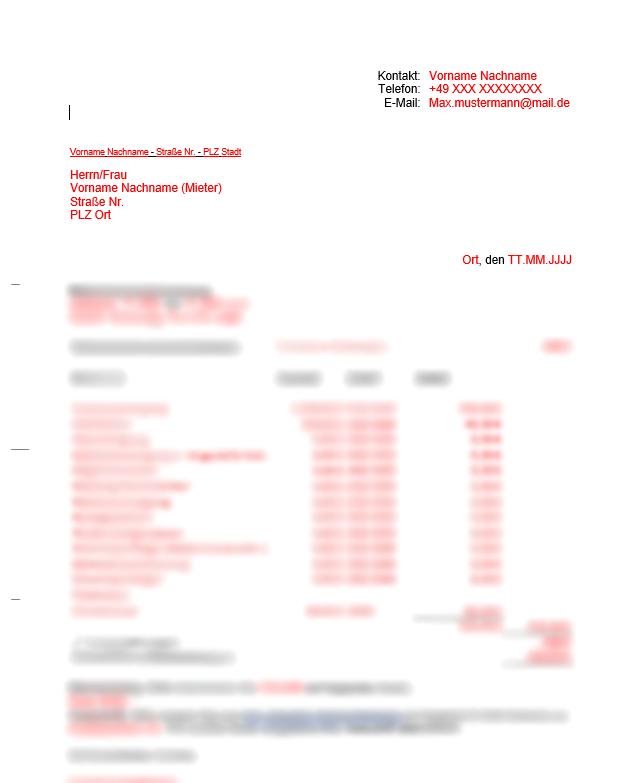 Vermieter Vorlagen Nebenkostenabrechnung